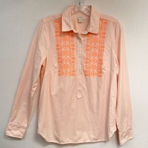 J.Crew Women's Embroidered Oxford Popover Size S